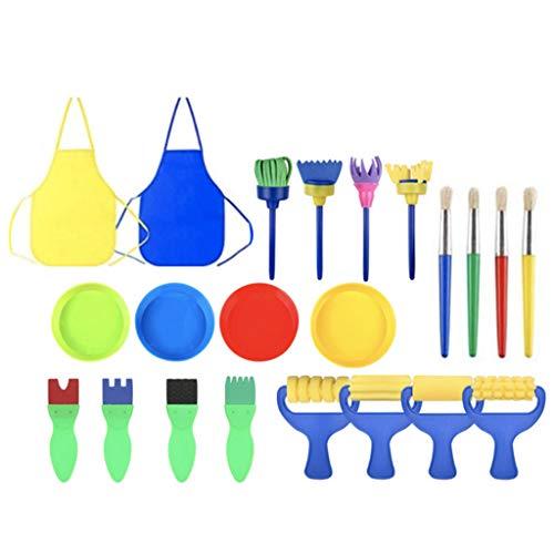 JHD 22 Piezas de Pinceles de Pintura para niños, Juego de Dibujo de Esponja con Cuencos de Pintura, Pinceles de Esponja y Delantal Impermeable para niños, garabatos, compartiendo Pinturas