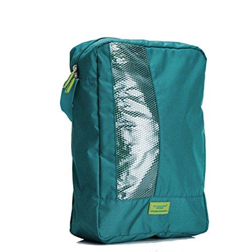 M Quadrato in nylon impermeabile da viaggio Organizer per borsa polvere scarpe cerniera di nylon di alta qualità portatile e compatto, Poliestere e misto poliestere, Green, Taglia M