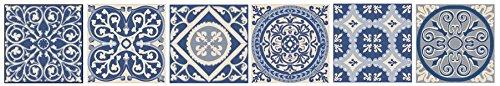 PLAGE Smooth - Tiles tegels sticker cement tegels blauwe hemel-AZULEJOS [6 vellen 15 x 15 cm], vinyl, blauw, 15 x 0,1 x 15 cm