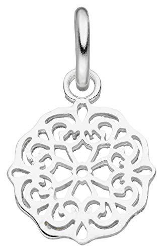 Laimons Colgante de mujer con diseño de mandala de placa, cepillado, brillante, 13 mm, de plata de ley 925