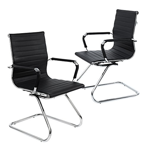 Wahson Heavy Duty Leather Office Guest Chair Mid Back Sled Reception Conference Room Chairs, Set of 2 (Gray)