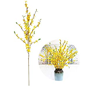 YHNJI 6 PCS Artificial Jasmine Flowers Simulation Yellow Branches Silk Fake Flowers Yellow Silk Fake Winter Jasmine Long Stem Artificial Flowers for Home Decoration