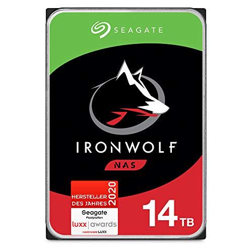 Seagate IronWolf, NAS interne Festplatte 14 TB HDD, 3.5 Zoll, 7200 U/Min, CMR, 256 MB Cache, SATA 6 Gb/s, FFP, inkl. 3 Jahre Rescue Service, Modellnr.: ST14000VNZ008