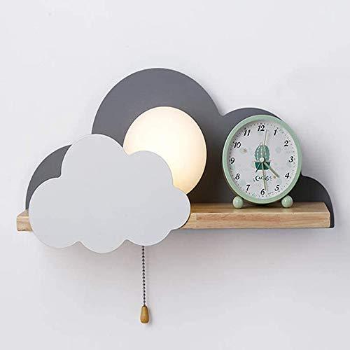 Modern Einfachheit Kreative Wolkenform Wandleuchte Pull-Line-Schalter und Holz Regale, Dachboden Studie Zimmer Flur Schlafzimmer Nachtlichter Wohnaccessoires Wandlampe LED E27 Wandlicht