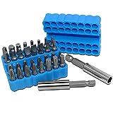 FineGood Juego de 34 puntas de destornillador con soporte de extensión de puntas, destornilladores de seguridad