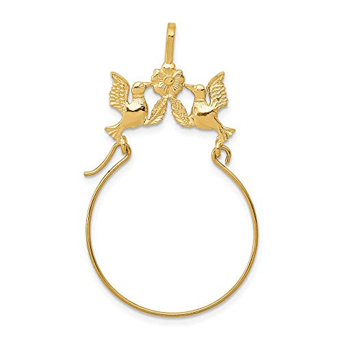 14k Yellow Gold Doves Bow Pendant Charm Necklace Holder Fine Jewelry For Women Gifts For Her