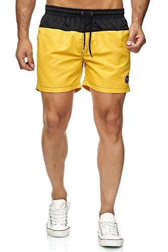 Kayhan Men´s Swim Short Doubleface, Black/Yellow 4XL