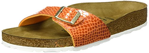 Birkenstock Classic Damen Madrid Birko-Flor Pantoletten, Orange (Shiny Snake Orange), 41 EU