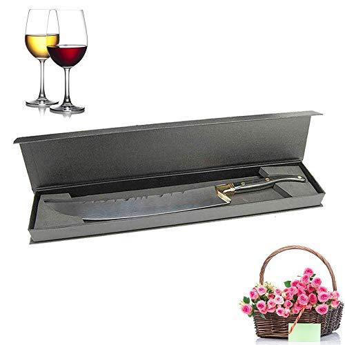 XuSha Champagne Saber Champagne Sword Wine Knife Bottle Opener Wood Handle with Wooden Box (Black hand + Gift Box)