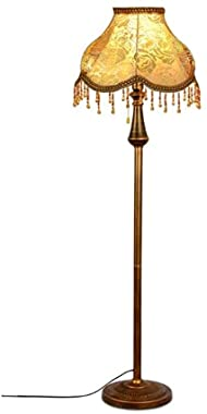 Retro Floor Lamp 3 Colors Dimmable Adjustable Metal Standing Lamp with Crystal Fabric Drum Shade for Living Room Bedroom Offi