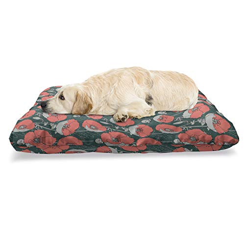 Ambesonne Floral Pet Bed, Digitally Generated Poppies Forest Items, Chew Resistant Pad for Dogs and Cats Cushion with Removable Cover, 24' x 39', Hunter Green Coral