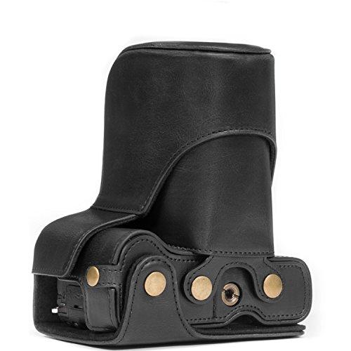 MegaGear Ever Ready MG1179 - Funda de Piel con Correa para cámara Canon EOS M6, Color Negro