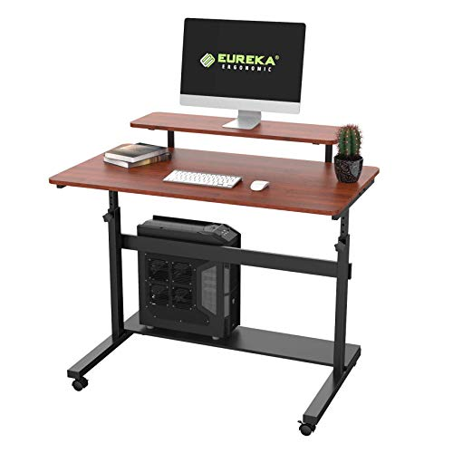 EUREKA ERGONOMIC Height Adjustable Standing Desk, Mobile Desk with Detachable Hutch 41', Teak