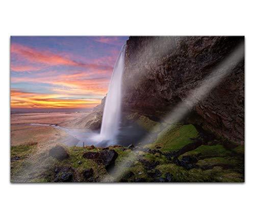 Acrylglasbilder 80x50cm Wasserfall Island schöne Landschaft Acryl Bilder Acrylbild Acrylglas Wand Bild 14H931