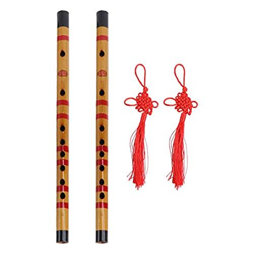 LIXBD 1 Set/2 Stück Bambusflöte, tragbar, zarte chinesische Flöte, Musikinstrument für Amateur-Musiker Anfänger