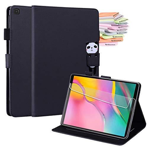 Billionn Smart Folio for Samsung Galaxy Tab A 10.1 2019 Case (Model: SM-T510 SM-T515)+ Screen Protector, Premium PU leather, with Pencil Holder, Black