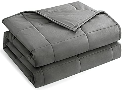 HBlife Weighted Blanket 20lbs for Adults, 100% Oeko-Tex Certified Cozy Heavy Blanket Queen Size with Premium Glass Beads, Dark Grey 60X80 inches