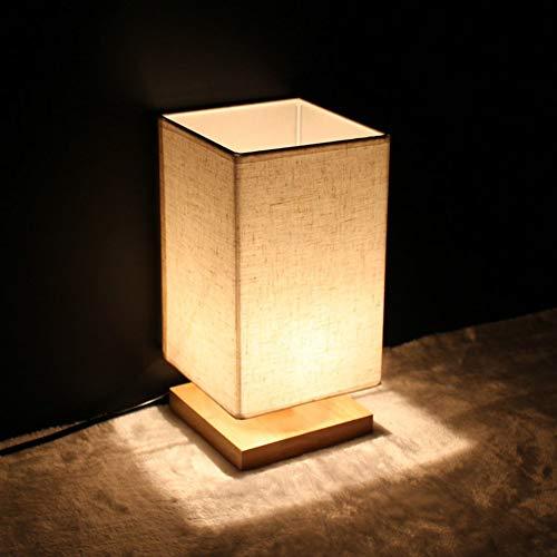 OMKMNOE Tischlampe Aus Holz, Nachttischlampe Vintage Stehlampe Modern Auf Tisch Stecker Warmweiß Für Wohnzimmer Kinderzimmer Schlafzimmer Esszimmer Eckig Gelb,Weiß
