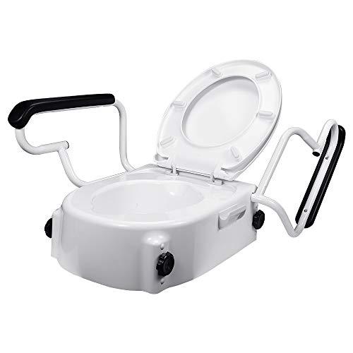 Hengda Toilettensitzerhöhung, mit Abnehmbaren Armlehne Deckel Toilettenhilfen, Weiß 3 fach höhenverstellbar WC Sitzerhöhung für Senioren Schwangere Frau Menschen mit eingeschränkter Mobilität