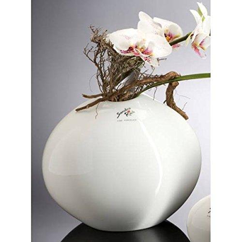 Sandra Rich Porzellan Vase, Dekovase Stone weiß H. 16cm 19x12cm