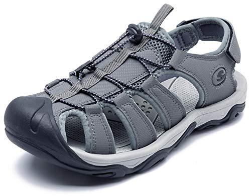 UBFEN Sandalias Deportivas para Hombre Senderismo Zapatillas Polideportivas al Aire Libre para Trekking Casuales Zapatos Verano Gris 39 EU