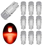 EverBright 10-Pack 194 Led Bulb Red, Ceramic 3030 2-SMD T10 194 168 W5W 2825 LED Bulb for Car Interior Lights Dome Map Trunk Light Dashboard Bulb License Plate Light Lamp DC 12V