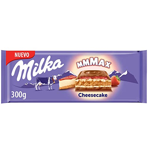 Milka Strawberry Cheesecake - Chocolate con Leche de los Alpes Relleno de Tarta de Queso de Fresa - Tableta de 300 g