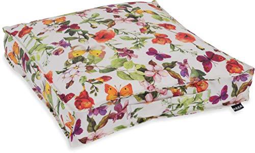 H.O.C.K. - Gartenmöbel-Kissen in Schmetterling Bunt, Größe Matratzenkissen 50x50x10cm
