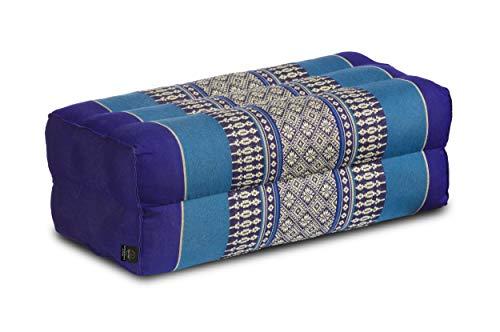 Coussin pour la meditation yoga 35x15x10 cm, rembourrage Kapok, design traditionell Thai bleu foncé-bleu clair