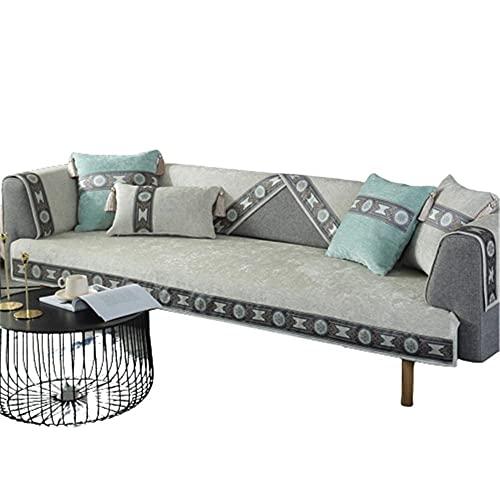 Fundas seccionales para sofá con diseño de Lirio de Flores de Chenilla,Fundas para sofá,Sala de Estar,Elegante Funda para sofá y sillón,Beige,110 * 240 cm