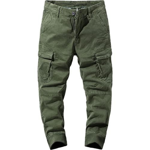 Pantalones Cargo para Hombre Color sólido Personalidad Hermosa Pantalones Cargo Multibolsillos Otoño e Invierno Pantalones Casuales con pies Sueltos 38
