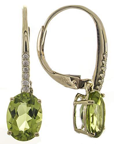 Gin & Grace 10K oro amarillo diamante natural y del pendiente del estilo genuino Peridot posterior Palanca de gota de la Mujer