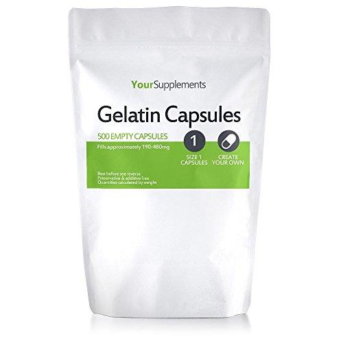 """Your Supplements - Cápsulas de gelatina, Vacías, Tamaño""""1"""", 500 piezas"""