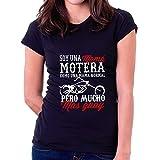 Camiseta Dia de la Madre Mamá Motera Custom (Negra, 2XL - Normal)