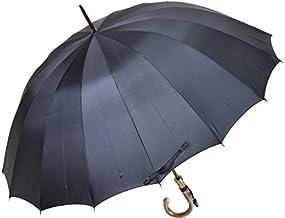 カーボン骨の大判無地16本骨雨傘トラッド16ロングカーボン(ダークブルー)前原光栄商店の日本製メンズ長傘 男