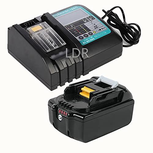 Batería de repuesto iones litio 18V 3,0Ah/3000mAh con cargador 3A para batería herramientas Makita 18V BL1840 BL1850 BL1860