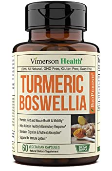 Turmeric Curcumin with BioPerine Boswellia and Ginger Advanced Turmeric Combination Promotes Cartilage Function Vegan Gluten-Free Non-GMO Natural 60 Vegetarian Capsules.