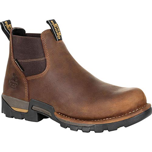Georgia Boot Eagle One Steel Toe Waterproof Chelsea Work Boot Size 10.5(W) Brown