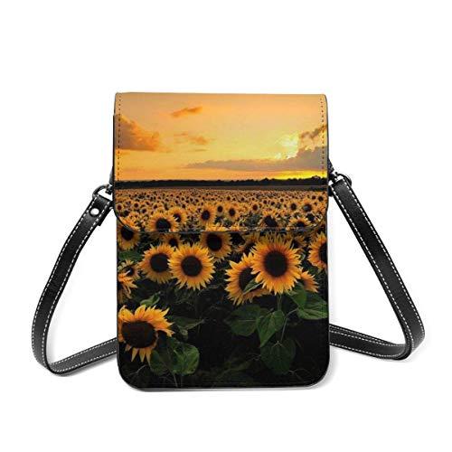 Bolso de hombro pequeño, girasol, bolso cruzado para teléfono celular, bolso ligero para mujeres y niñas