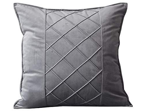 Lutanky Funda de cojín de terciopelo fundas de almohada cuadradas decorativas fundas de almohada suaves para sofá accesorios para el hogar 45 x 45 cm (gris, 1 pieza)
