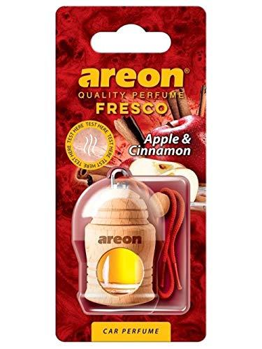 AREON Fresco Auto Duft Apfel Zimt Glas Duftflakon Flakon Holz Hängend Anhänger Spiegel Rot 4ml (Pack x 1)