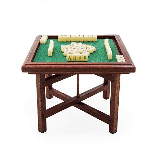 Odoria 1/12 Miniatuur Mahjong Chinees en Opvouwbare Tafel Poppenhuis Accessoires