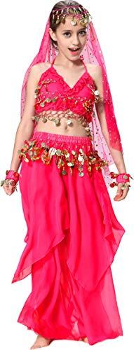 Seawhisper Bauchtänzerin Kinderkostüm Bollywood Kostüm Mädchen Faschings-Kostüme Gelbrot 140 146