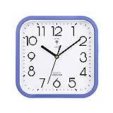 ZRL Reloj de cuarzo clásico de 25 cm con caja de plástico, reloj de pared cuadrado, silencioso, no hace tictac, hogar, escuela, oficina, sala de estar (color: azul)