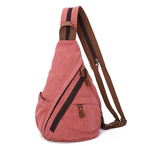 Canvas Sling Bag Rucksack Damen und Herren – Schulterrucksack Umhängetasche Crossbag Verstellbarem Schultergurt Perfekt für Outdoorsport, Wandern, Radfahren, Bergsteigen, Reisen (6881-Rostrot)