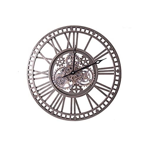 XBYUNDING Amplio reloj de viento industrial Reloj de pared Relojes de jardín al aire libre impermeable Iron Número romano Reloj exterior Reloj exterior Reloj de pared interior Decoración al aire libre