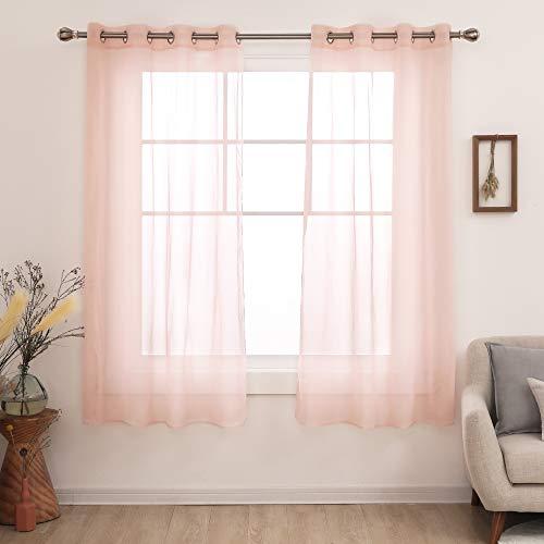 Deconovo Short Sheer Curtains Grommet Voile Drape Tier Curtains for Kitchen Window Pale Pink 2 Panels 52x54 Inch