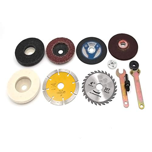 Chiloskit 10 pcs Electric Drill Change to Angle Grinder Conversion Accessories With Cuttoff Wheel Polishing Grinding Disc Accessories Woodworking Metal Kit