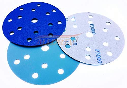 150mm Nass und Trocken Schleifscheiben 10x 1000 1200 1500 2000 3000 KORN Klettband 15 Löcher Wasserdicht 6 '' Schleifpapier 50 Stück Gemischt für Exzenterschleifer