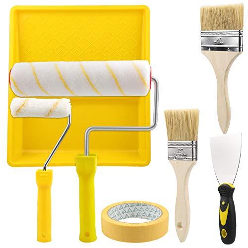 EXLECO Rulli per Dipingere 9Pcs, Rulli per Pittura 25 cm / 10 cm kits con Coltello Spatola e Pennello   Rullo per Vernice per Pittura Murali Set Professionale